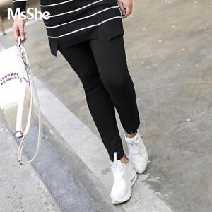 MsShe加大码女装2017新款秋装弹力针织松紧腰打底小脚裤M1730042