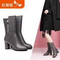 【领�涣⒓�150】红蜻蜓女鞋冬季新品时尚圆头舒适粗跟中筒靴简约纯色女靴