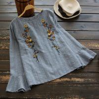 4049新款2018春季女装复古百搭花朵刺绣套头长袖圆领衬衫衬衣上衣 蓝色 单一码