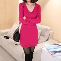 毛衣女羊毛衫秋冬新款V领套头针织衫中长款修身显瘦打底衫羊毛衫 2X