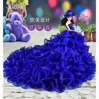 品质珍藏版芭比娃娃婚纱套装女孩公主单个大号超大90厘米玩具生 宝蓝色 高45厘米