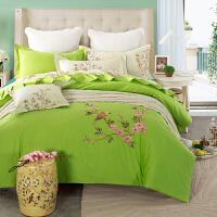简约欧式清新果绿色绣花朵田园风四件套刺绣棉被套床单床品套件