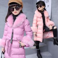 童装女童棉衣冬季新款2017儿童棉服中长款中大童毛领保暖棉袄女童外套 XAD531