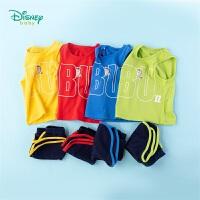 迪士尼Disney童装 男童套装运动肩开背心纯棉短裤2件套2020年夏季新品宝宝活力夏装清凉