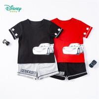 迪士尼Disney童装 男童套装纯棉肩开圆领短袖T恤运动休闲短裤两件套夏季新品中小童衣服