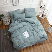 纯色全棉简约磨毛被套床单四件套1.5m1.8米床笠纯棉三件套