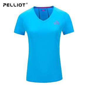 【保暖节-狂欢继续】法国PELLIOT/速干t恤男女短袖 运动排汗快干速干衣 V领户外T恤