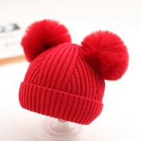 婴儿帽子秋冬季6个月-2岁1儿童针织帽男童套头帽女宝宝保暖毛线帽 均码