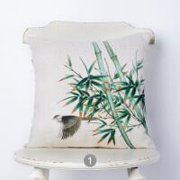 ???现代中式抱枕靠垫中国风竹红木沙发椅子棉麻靠枕被子两用方枕