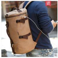 多功能双肩包男包圆筒包手提旅行包士帆布背包运动户外旅游
