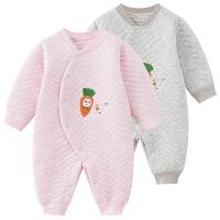 班杰威尔 新生儿保暖衣服纯棉宝宝冬装婴儿连体衣0-3-6个月哈衣薄棉衣春季