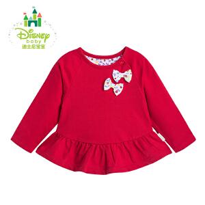 迪士尼Disney 童装女春装侧开肩长袖纯棉上衣荷叶摆裙161S788