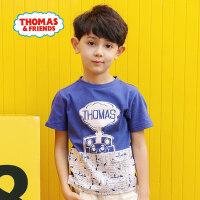 【满600减400】托马斯正版童装男童夏装2018夏季新款全棉短袖圆领T恤上衣两色选