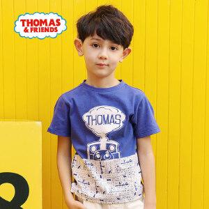 【促】托马斯正版童装男童夏装2018夏季新款全棉短袖圆领T恤上衣两色选
