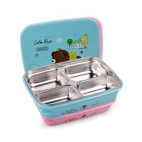 儿童餐盒餐盘大号304不锈钢学生饭盒分格四格便当盒
