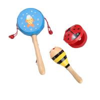 拨浪鼓0-3-6-12个月婴儿床头摇铃8岁男女孩木质响板玩具 B款(3件) 彩色+沙锤+响板