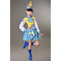 少儿演出服儿童表演服民族蒙族女童筷子舞蹈服幼儿蒙古舞服装纱裙