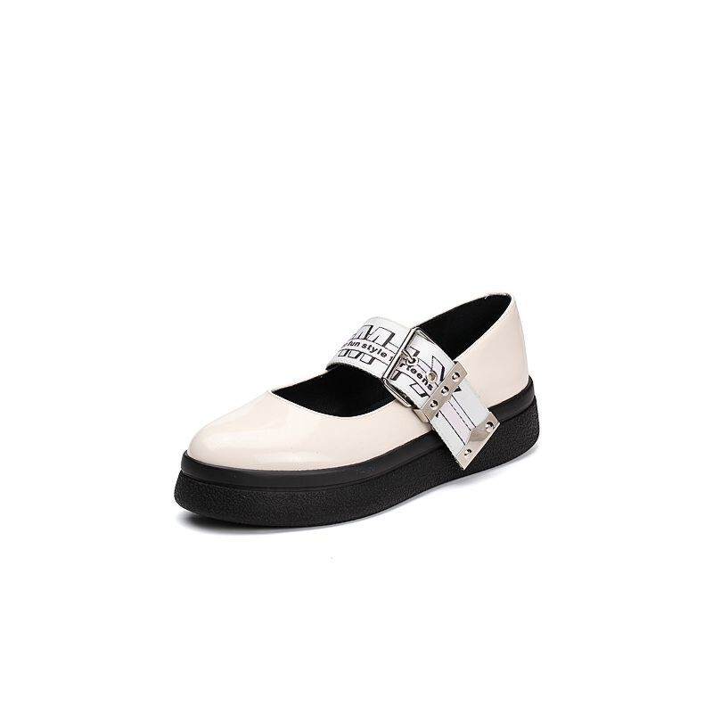 Teenmix/天美意2018春专柜同款光面小牛皮卡乐鞋女单鞋CCF04AQ8