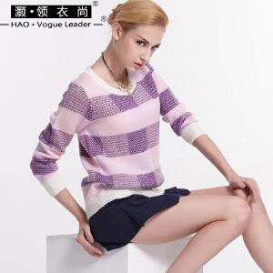 冬季厚款提花撞色毛衣短款圆领套头上衣长袖修身针织衫