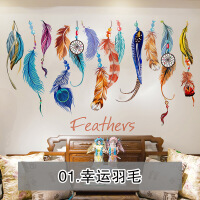 可移除墙贴纸贴画床头客厅沙发背景墙壁装饰创意个性彩色羽毛挂饰 大