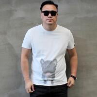 夏新款卡通狗头韩版潮胖特大号男装加肥加大码圆领男士短袖T恤 白色