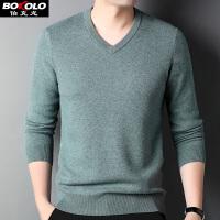 2件3折 纯羊毛衫半高领薄款男士针织衫男装青中老年套头圆领保暖毛衣 伯克龙Z9292