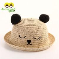 子太阳帽母子夏季防晒 韩版宝宝遮阳帽新款儿童草帽沙滩40 浅黄色