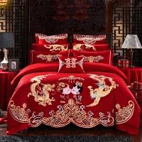 新婚庆四件套全棉大红色纯棉刺绣结婚礼六八十件套喜被子床上用品定制!