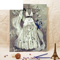 数字油画大幅客厅欧式人物情侣结婚手绘手工填色 40*50cm绷好实木内框 亚麻画布+高亮