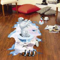 墙贴客厅卧室玄关创意装饰地面贴纸防水防滑贴画浴室地板贴 大