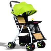 夏季竹藤可坐可躺竹藤椅超轻便携折叠简易宝宝小孩儿童四轮手推车