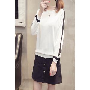 秋季打底衫女韩版拼色条纹圆领针织衫女套头学生七分袖毛衣外套女