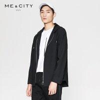 【2件2.5到手价:211.5】MECITY男装春季羊毛黑色短款连帽拉链夹克外套韩版潮流