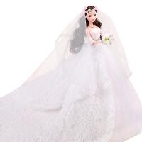 婚纱芭比娃娃套装女孩公主大礼盒拖尾大裙摆单个洋娃娃儿童玩具 礼盒精装
