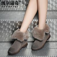 波尔谛奇冬新款磨砂牛皮短靴女羊毛保暖加绒内增高靴子17036