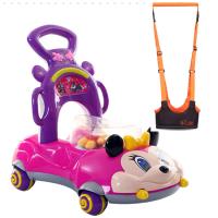 学步车手推车可坐骑6-7-18个月多功能防侧翻宝宝助步婴儿童音乐 米奇紫色+学步带送电池 +增重袋风车贴画