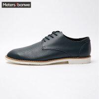 【1件2折到手价:79.8】美特斯邦威时装鞋男时尚潮流单层真皮透气系带时装鞋