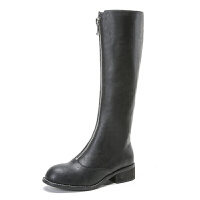 秋冬新款前拉链高靴复古马丁靴子女欧美时尚圆头高筒靴潮中跟靴子