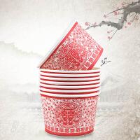 结婚庆用品一次性加厚喜杯子婚宴中式婚礼喜庆敬茶道具大红色纸杯
