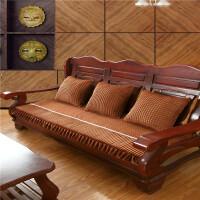 实木沙发垫加厚毛绒防滑三人沙发坐垫连体长椅垫子联邦椅垫可拆洗