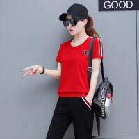 韩版显瘦短袖长裤跑步两件套潮休闲套装女运动装时尚