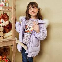 【1件4折价:247.6】moomoo童装女童羽绒服冬装新款女孩时尚洋气荷叶边收腰羽绒外套厚