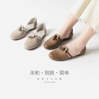 青婉田2018春季浅口鞋女复古绳结包跟真皮单鞋女休闲套脚平底鞋女