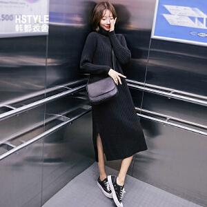 【1件3折:118.2元】韩都衣舍2019春装新款韩版chic针织衫中长款过膝毛衣裙女MY9865�S