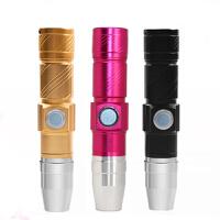 USB荧光剂检测灯 365nm紫光手电筒白光 验钞玉石面膜化妆品测试笔 黑色