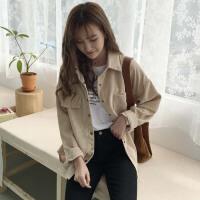 2018春装韩版chic新款复古百搭灯芯绒长袖衬衣开衫外套衬衫女装潮