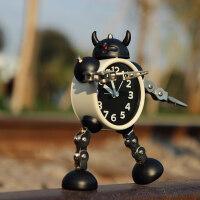【支持礼品卡】变形机器人闹钟创意学生小闹钟可爱儿童卡通闹钟台钟座钟金属闹表4sj