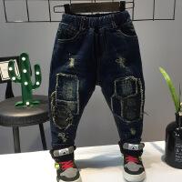 冬季新品男童韩版加厚加绒小脚贴布牛仔裤修身牛仔裤A-T5