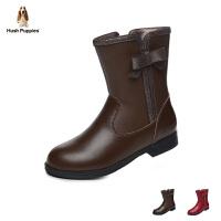 暇步士Hush Puppies童鞋17冬季儿童皮鞋加绒儿童皮靴女童休闲时装靴 (9-13岁可选)  DP9183
