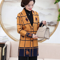 中老年女装秋装羊毛外套中年妈妈装40-50岁30大码中长款风衣上衣